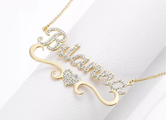 Personalized Gold Bling Heart Necklace