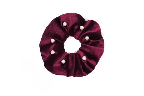 Pearl Velvet Hair Scrunchie