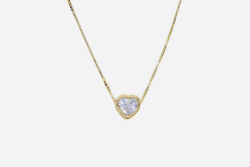 Gold Bezel Solitaire Heart Necklace