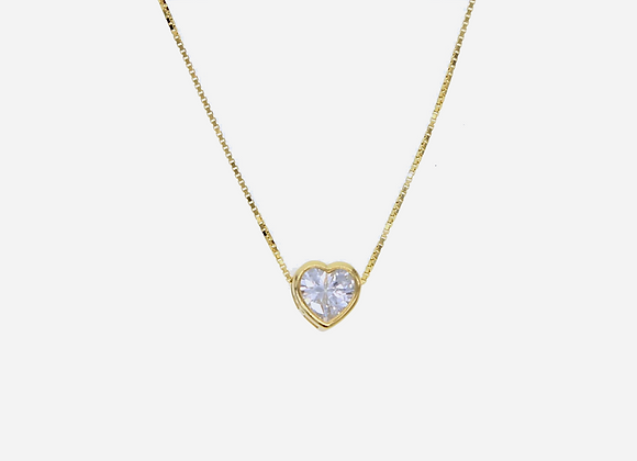 Gold Bezel Solitaire Heart Necklace