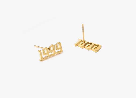 90's Old English Birth Year Earrings