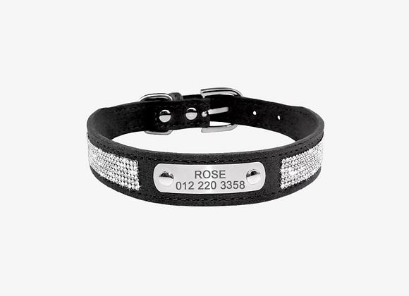 Jeweled Black Personalized Pet Collar