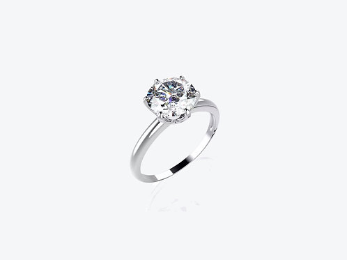 18k White Gold Moissanite Solitaire Ring