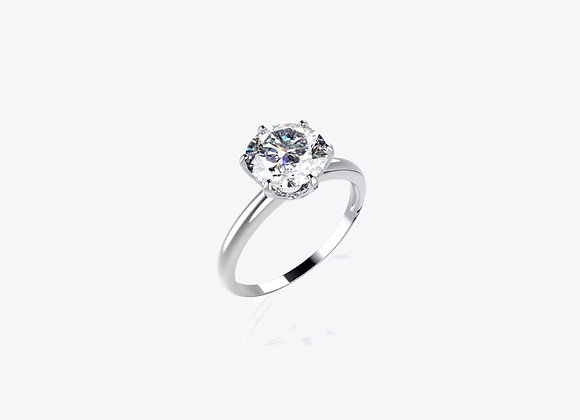 18k White Gold Moissanite Solitaire Ring