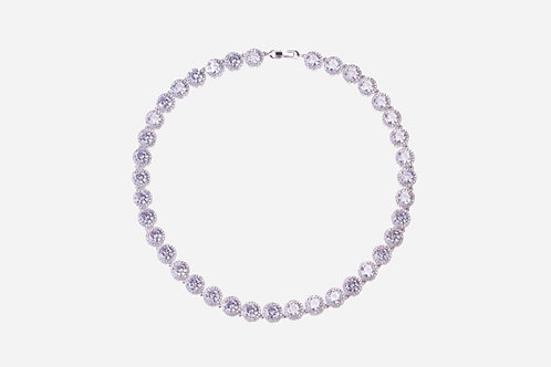 925 Sterling Silver Round Halo Tennis Necklace