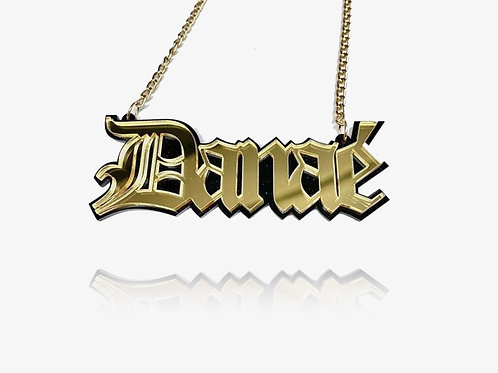 14K Gold Personalized Old English Necklace