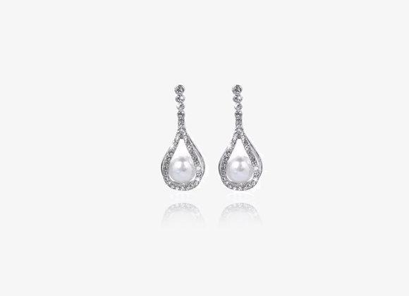 Water Drop Caged Pearl Earrings