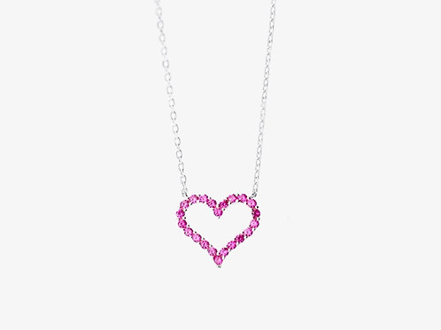 925 Sterling Silver Pink Heart Necklace