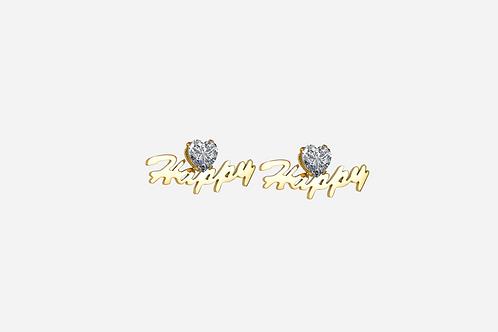 Gold Personalized Heart Stud Earrings
