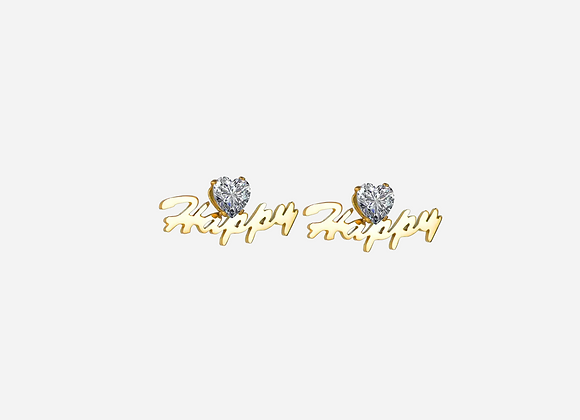 Gold Personalized Heart Stud Earrings