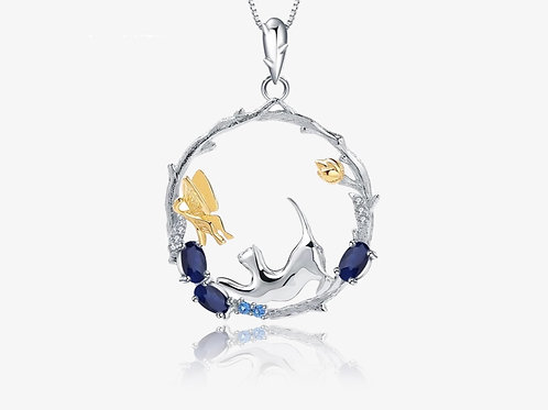 925 Sterling Silver Sapphire Cat Necklace