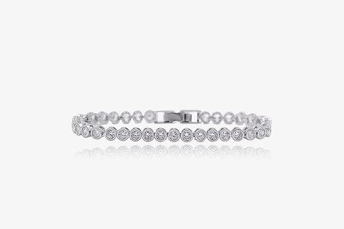 18K White Gold Round CZ Tennis Bracelet