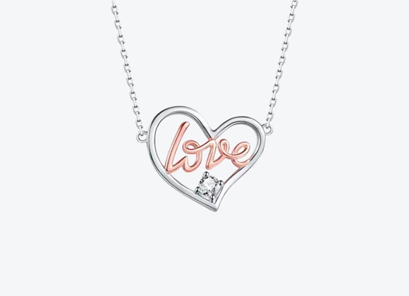 925 Sterling Silver Heart Love Necklace