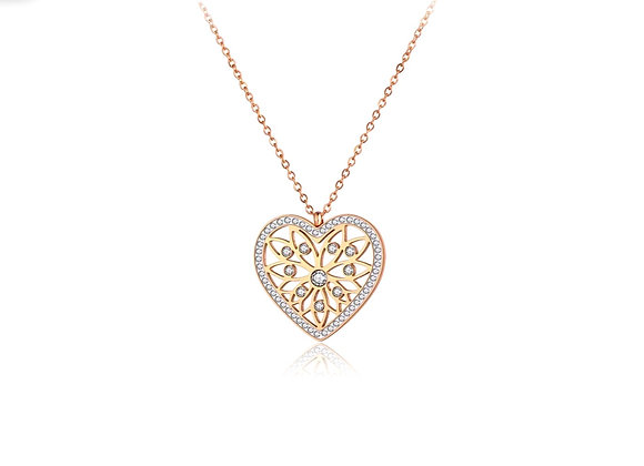Rose Gold CZ Heart Necklace