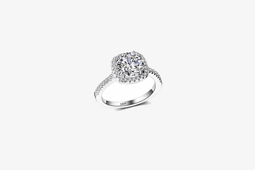 925 Sterling Silver Cushion Halo Ring