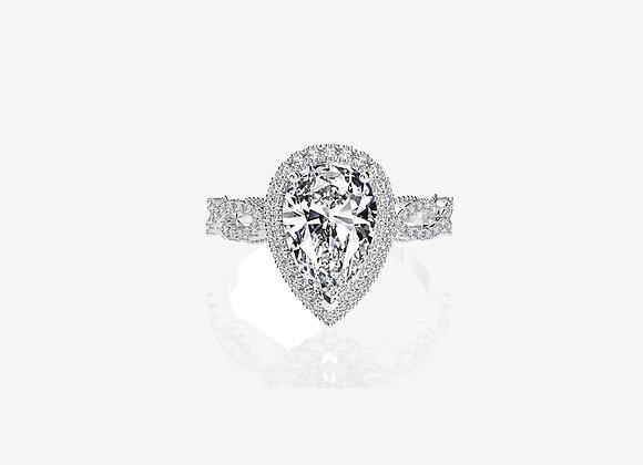 925 Sterling Silver Moissanite Pear Ring