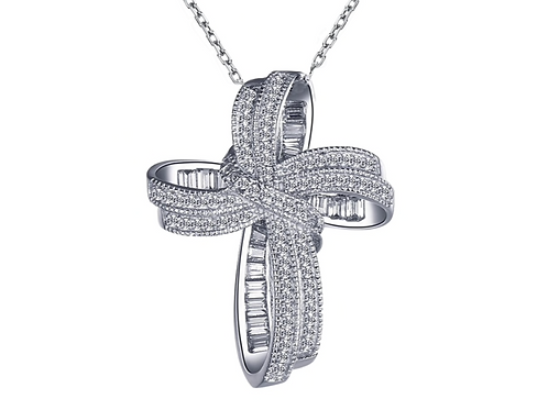 925 Sterling Silver Ribbon Cross Necklace
