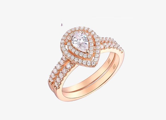 Rose Gold Halo Pear Ring