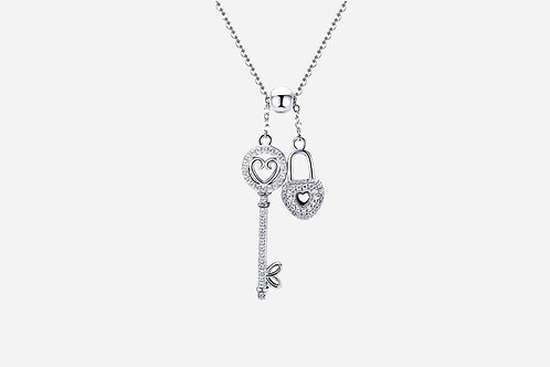 925 Sterling Silver Key To My Heart Necklace