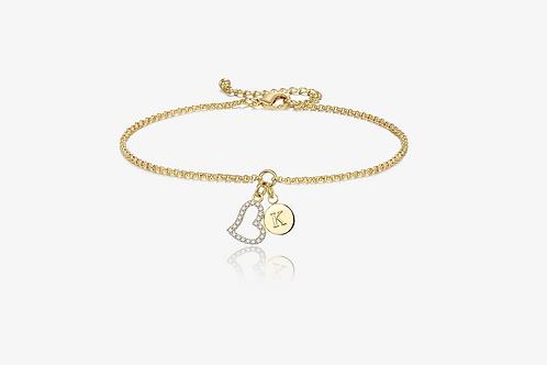 Gold Heart Initial Bracelet