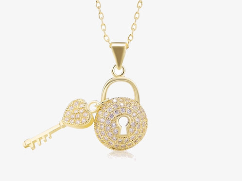 Gold Pave Love on Lock Necklace
