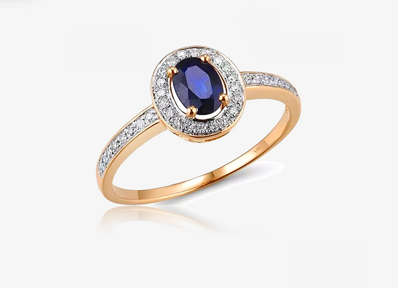 14K Gold Sapphire Halo Solitaire Ring