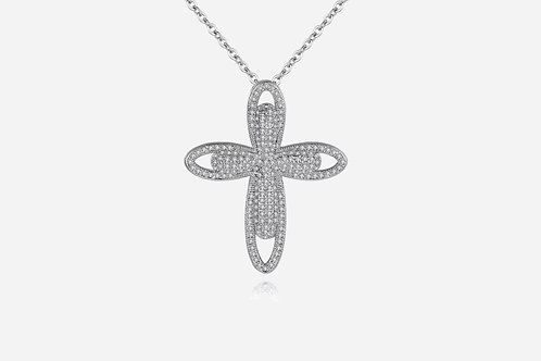 Silver Micro Pave Cross Necklace