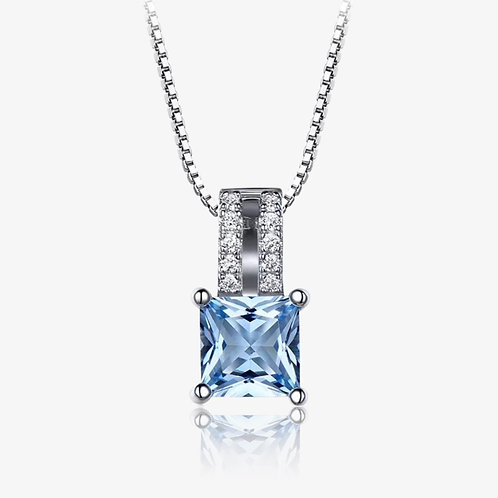 925 Sterling Silver Aquamarine Necklace