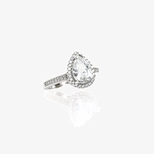 925 Sterling Silver Pear Halo Ring