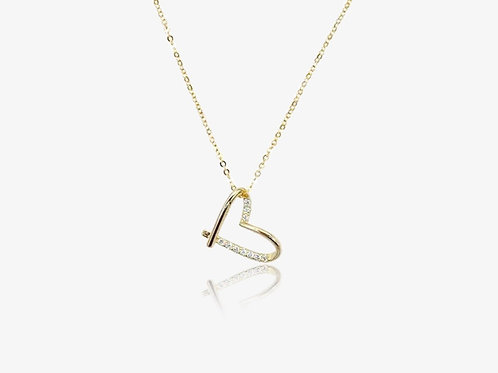 Gold CZ Side Heart Necklace