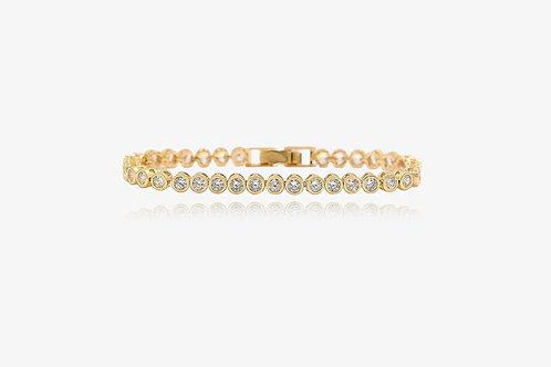 18K Gold Round CZ Tennis Bracelet