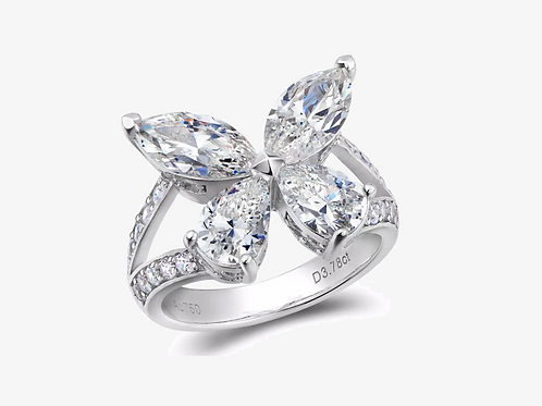 Moissanite Marquise Pear Butterfly Ring