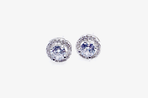925 Sterling Silver Round Halo Earrings