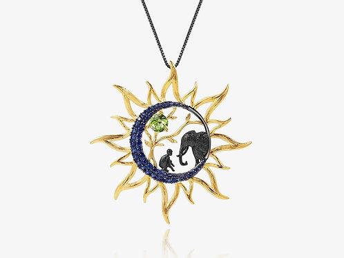 Gold Sapphire Sun Necklace