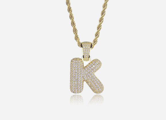 24K Gold Plated Bubble Initial Pendant
