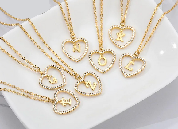 Gold CZ Heart Initial Necklace