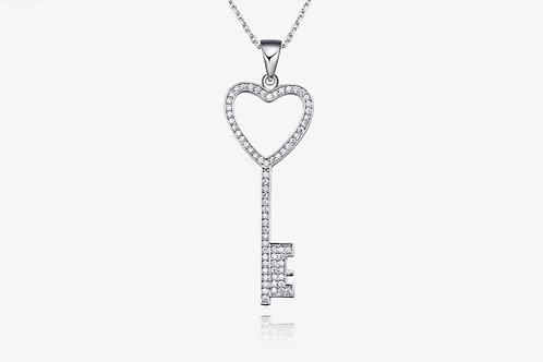925 Sterling Silver CZ Heart Key Necklace