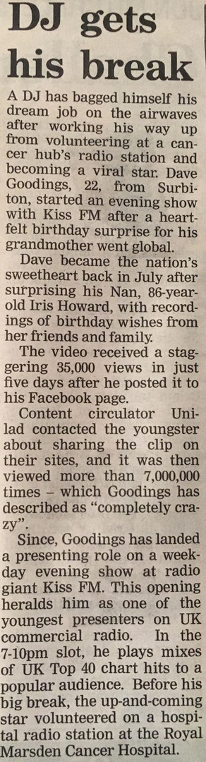 DJ get his break newspaper article