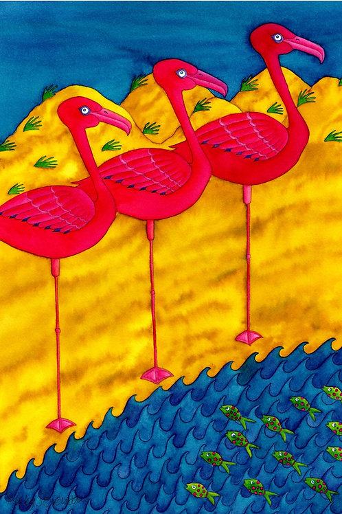 FLAMINGOS WAIT PATIENTLY FOR LUNCH