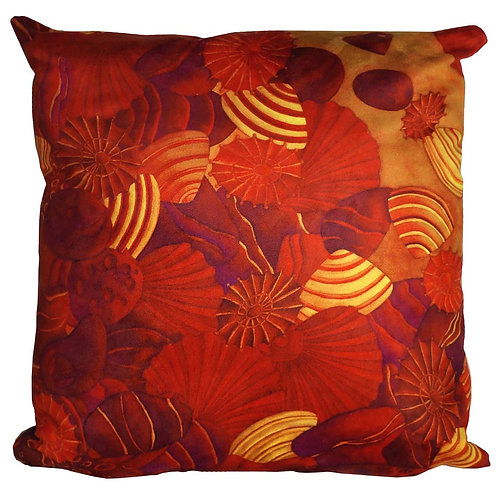 SHELLS AND HEART SHAPE ROCKS CUSHION