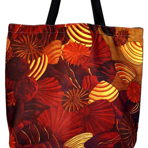 SHELLS AND HEART SHAPE ROCKS CANVAS TOTE BAG
