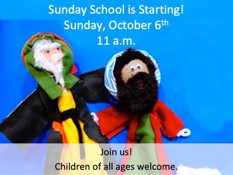 Sunday School: Starting Oct. 6