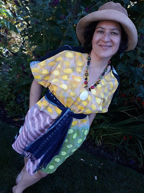V-neck Tunic handpainted colorful dots + lines
