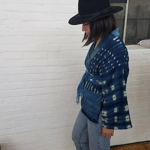 CUSTOM: Vintage West African Indigo cropped jacket with belt