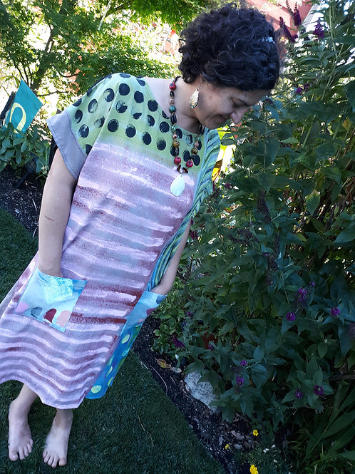 Handpainted on raw silk noil dress (see measurements)