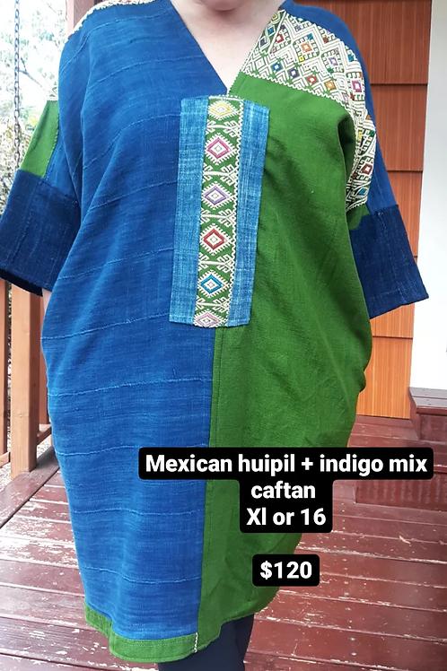 Mexico huipil + African indigo textile tun dress with pockets (XL)