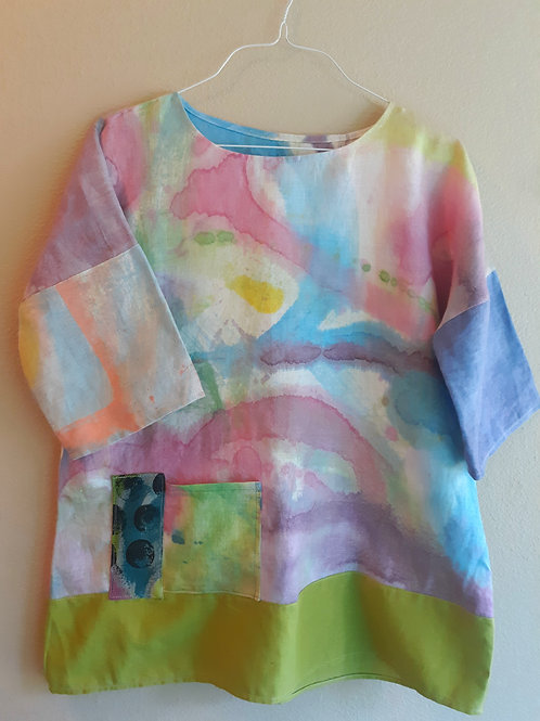 Watercolor series tunic in pastels  one size. See measurements
