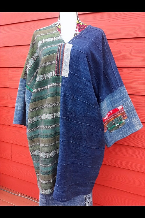 v-neck Handloomed indigo and Guatemalan textile- XL