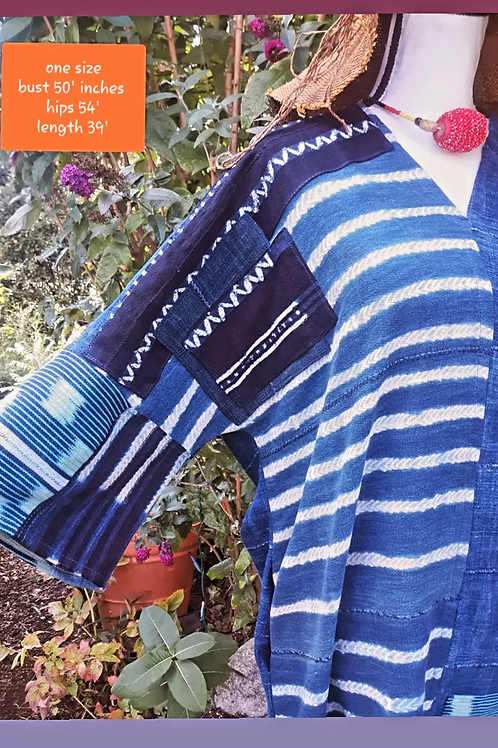 Unique handloomed indigo cloth with patchwork- see measurements