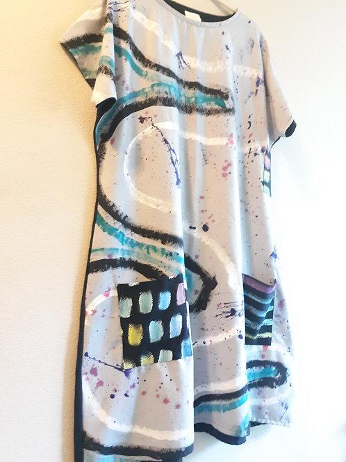OOAK Handpainted on raw silk noil dress(Large/XL)